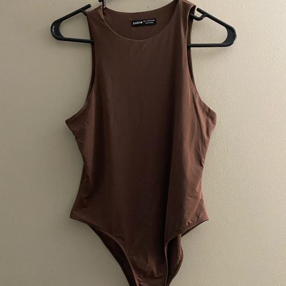 NWOT SHEIN Chocolate Brown High Neck Bodysuit Sz L